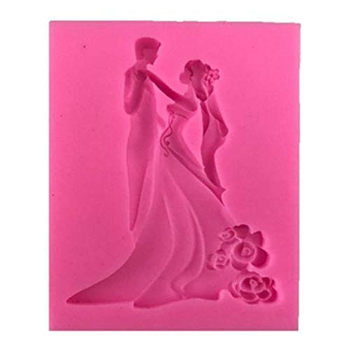 Bräutigam und Braut Silikon Kuchen Form Fondant Sugarcraft Backen Decor Werkzeug-Pink Hochzeit Muster ()