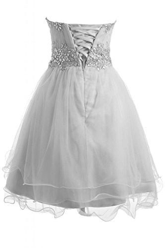 Gorgeous Bride Zaertlich Traegerlos Mini A-Linie Organza Tuell Abendkleid Ballkleid Festkleid Hellbraun