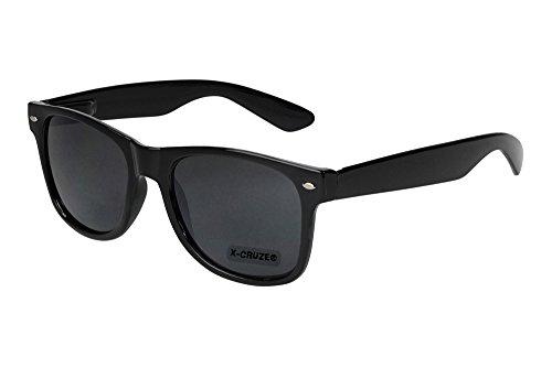 X-CRUZE 8-001 Nerd Sonnenbrille Stil Retro Vintage Unisex Brille Nerdbrille - schwarz