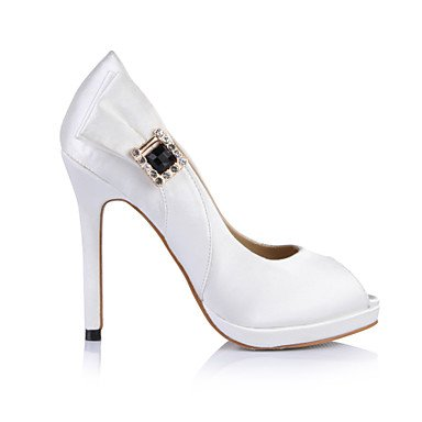Women's Heels Summer Comfort Silk Wedding Party & Evening Dress Stiletto Heel Rhinestone Black Ivory Ivory