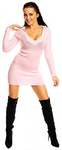 Zeta Ville - Pull long à capuche manches longues col V Coupe ajustée femme 421z Baby Rose
