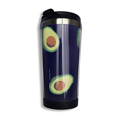 Stainless Steel Coffee Mugs Avocado Pattern Travel Coffee Thermal Mug 10 Oz (400ml) Insulated Cup Perfect for Travel, Camping, Hiking, The Beach and Sports -