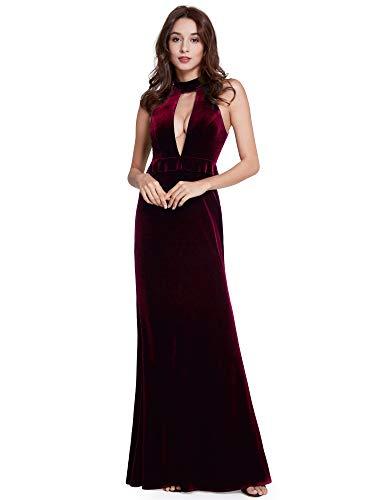 Ever-Pretty Vestito Abito da Sera con Scollo a V in Velluto da Donna con Coscia Alta Fessura 42 Borgogna