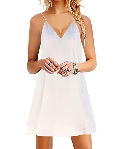 YOINS Damen Sommerkleid Minikleid Ärmellos V-Ausschnitt Weit Kleider Träger Lose T-Shirt Kleid Strandmode Knielang White UK 18 - Mini-kleid Short Cocktail