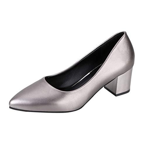 Quaan Dicke Ferse Mode Damen Wilde High Heels Volltonfarbe professionelle Arbeitsschuhe