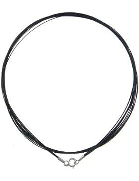Halskette aus Edelstahl, 6 Stränge, schwarz, 925 Silber Verschluss