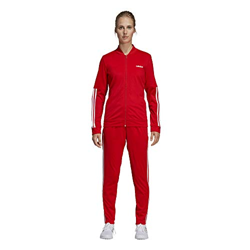 adidas Back2Basics 3 Stripes Tracksuit, Tuta Donna, Active Rosso/Bianco, M 44-46