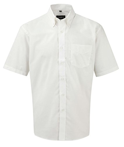 Russell Collection manches courtes pour homme Entretien facile-Oxford Blanc