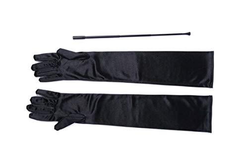 Utopiat Schwarz erweiterbar Zigarettenspitze und lange Satin Handschuh Kostüm Zubehör ()