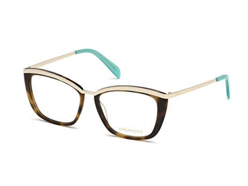 Emilio pucci montature occhiali da vista ep5093, 54-16-140 (havana/oro)
