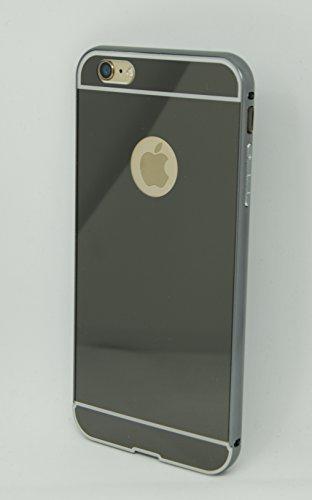 Mirror Bumper iPhone Case Specchio Soft Case Custodia protettiva cover iPhone 6/6S Plus specchio copertura, Ultra Slim Mirror Case Cover Skin, sottile custodia back cover a specchio, caso di telefono  nero