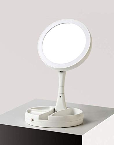 Espejo Maquillaje con Luz LED - Zodight Espejo Aumento 10X y 1X Doble Cara Espejo de mesa Multiuso Coméstico...
