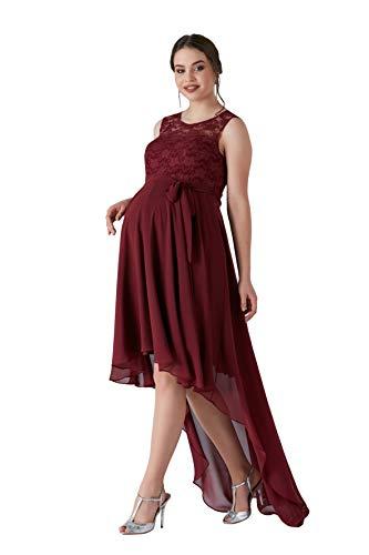 M.M.C. Bordeau Umstandskleid mit asymmetrischem Schnitt und Spitze - Chiffon Schwangerschafts-Kleid Bustierkleid Abendkleid Cocktailkleid Hochzeit Standesamt (Weinrot, 38)