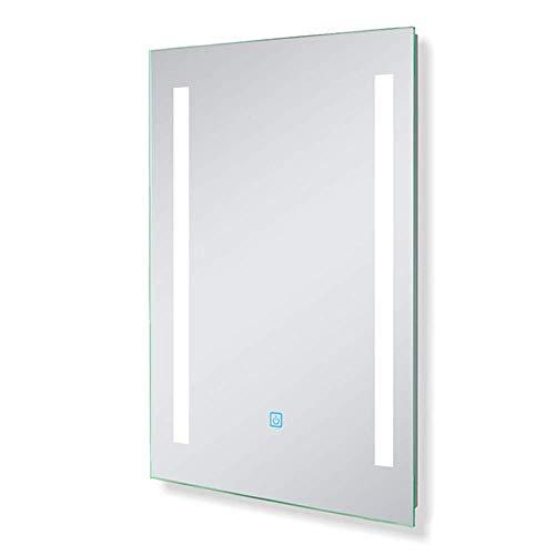 AicaSanitär Led Badspiegel 50×70 cm Badspiegel Touch Beschlagfrei Wind Serie Kaltweiß Badezimmerspiegel Aluminium-Rahmen CE