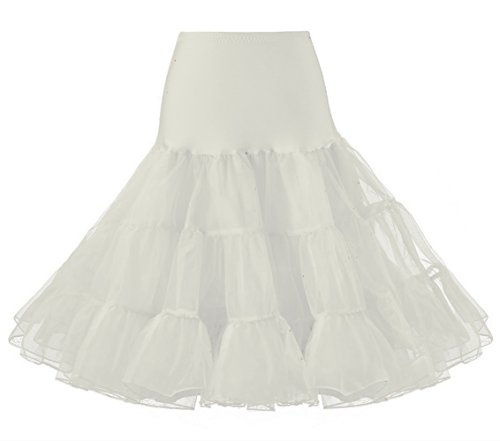 LIDORY 50s Petticoat knielang Vintage Retro Reifrock Unterrock Underskirt Crinoline für Wedding Bridal Rockabilly Kleid (M, Beige) (Rock Tiered Saum)