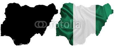 "Alu-Dibond-Bild 160 x 70 cm: ""Nigeria - Waving national flag on map contour with silk texture"", Bild auf Alu-Dibond"