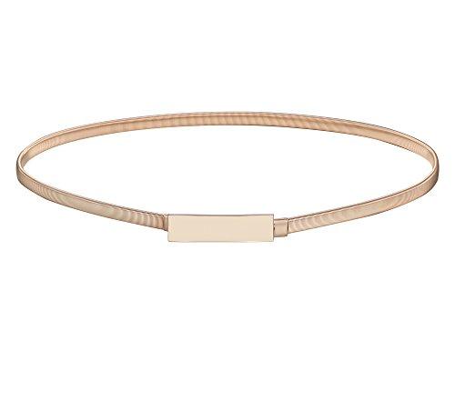 BABEYOND Damen Metall dekorativen Gürtel dünnen Gürtel elastischen Taille Strap Stretchy Gürtel für Kleider (Style-1-gold)