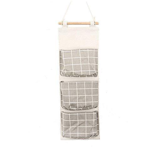 Aikesi portaoggetti da appendere con 3 tasche portatutto da porta e parete in cotone e lino griglia sacche portaoggetti per cucina camera da letto bagno ufficio (grigio)