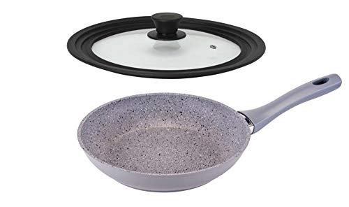 culinario Bratpfanne Ø 24 mit Universaldeckel, fettreduziert braten Dank Non-Stick-Beschichtung, Deckel für Ø 20/24/28 cm geeignet, Granitoptik