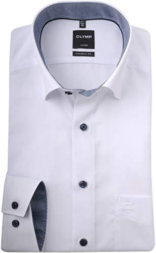 Olymp Luxor modern fit Hemd Langarm Under Button Down Kragen weiß Größe 42