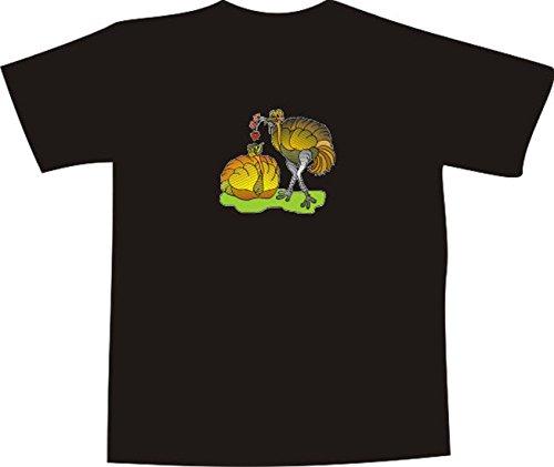 T-Shirt E863 Schönes T-Shirt mit farbigem Brustaufdruck - Logo / Grafik - Comic Design - verliebtes Straußenpärchen mit Blumen Weiß