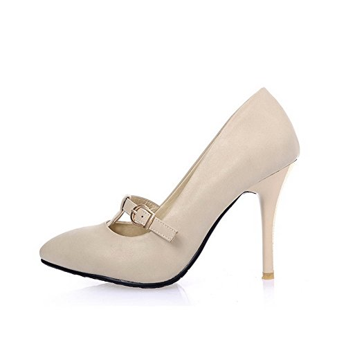AllhqFashion Damen Weiches Material Spitz Zehe Stiletto Schnalle Rein Pumps Schuhe Cremefarben