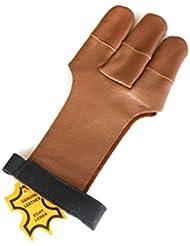 Calidad Piel Auténtica Guantes de punta de disparo completo guantes de tiro con arco tradicional.