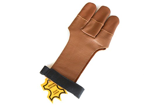 Quality Genuine Leather Traditional Archery Gloves Full Tip Shooting Gloves. Test