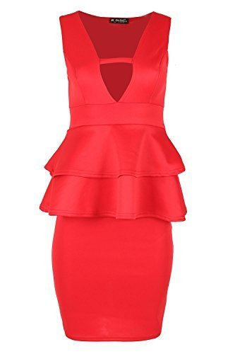 Womens Ladies Sleeveless V Neck Back Cut Double Frill Peplum Bodycon Mini Dress