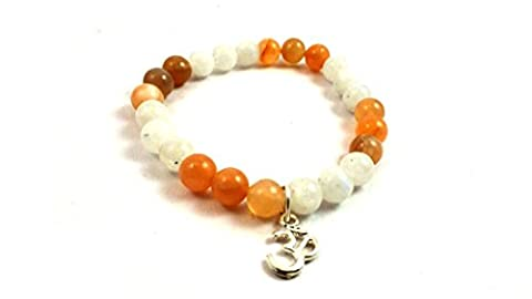 New Year Sale ! Sunstone And Moonstone Beads Bracelet With Om Charm Natural Semi Precious Stone Beads Size - 8mm Crystal Healing Energy Power Stone For Assists Lightbody Development & Awakens Cosmic Consciousness Free Set OF 3 Lapis Lazuli Pyramid