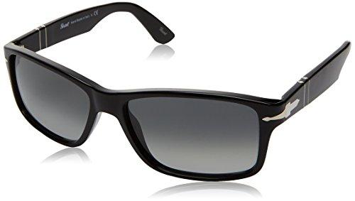 Persol Unisex Sonnenbrille PO3154S, Schwarz (Gestell: Schwarz, Gläser: Grau Verlauf Dunkelgrau 104171), Large (Herstellergröße: 58)
