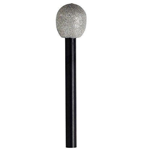 (Smiffys Unisex Glitzer Mikrofon, One Size, Silber, 22447)