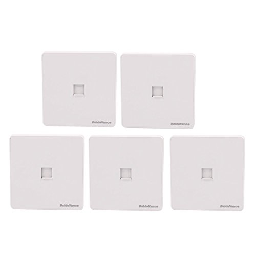 ZCHXD 5Pcs One Port PC Computer Network Socket Outlet Wall Plate White CAT6 86mmx86mm - 1-port-wall Plate