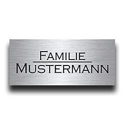 Premium Edelstahl Türschild mit Gravur   Namensschilder Briefkastenschild selbstklebend oder mit Bohrloch viele Größen ab 8x3,5 cm eckig mehr als 80 Motive Klingelschild - Türschilder für die Haustür mit Namen gestalten Willkommen Familie