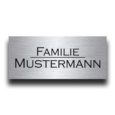 Edelstahl Türschild mit Gravur | Namensschilder Briefkastenschild selbstklebend oder mit Bohrlöcher versch. Größen ab 8x3,5 cm eckig mehr als 80 Motive Klingelschild - Türschilder für die Haustür mit Namen selbst gestalten