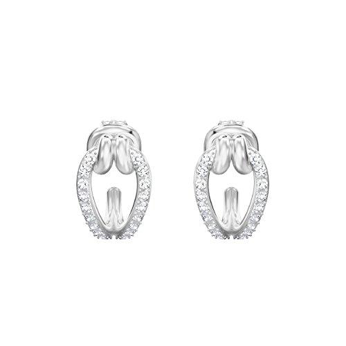 Swarovski orecchini a cerchio da donna lifelong, piccoli, bianco, placcato oro rosa