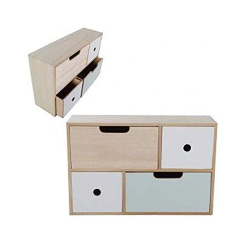 4 Schubladen Kommode Natur (DRULINE 1 x Minikommode Kommode Schrank Natur Weiß Mint Holz 40,5 cm x 26,5 cm x 11,5 cm 4 Schubladen)
