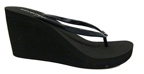 Scarpe donna, infradito con zeppa, nero, EMPORIO ARMANI swimwear, Art, 262526 5P336 (41)