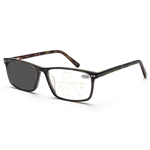 ZYFA Sonne Lesebrille Herren, lesen Presbyopie Brille, Federscharnier Lesehilfe Sehhilfe, Treffen Sie UV-Verfärbung,Multifunktion Bifokal Sonnenbrille