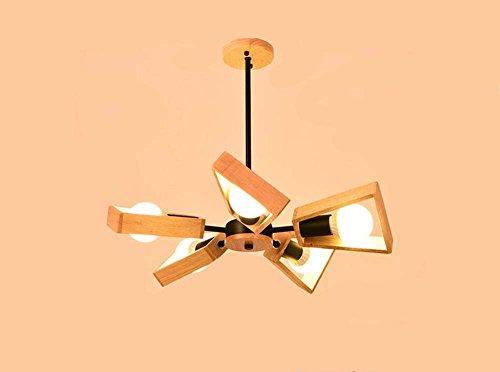 Lampadari di ventilatore in legno massello personalità creativa