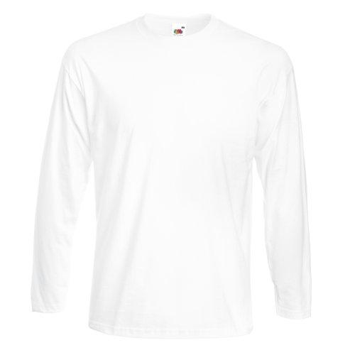 Fruit of the Loom Herren Super Premium Langarm T-Shirt (L) (Weiß)
