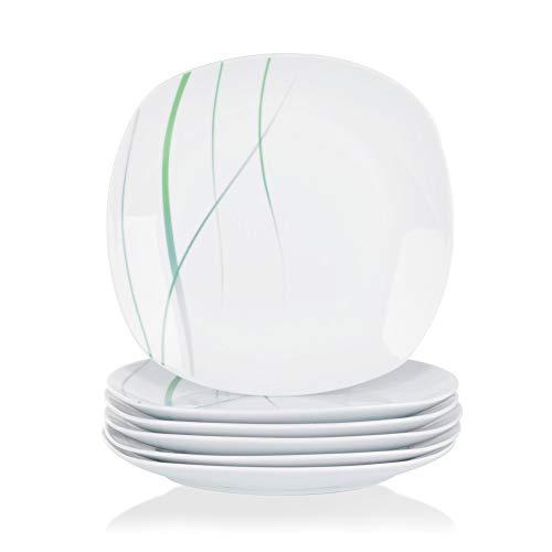 VEWEET, Porzellan Speiseteller \'Aviva\' 6-teilig Set | Durchmesser 24,7 cm | Ergänzung zum Tafelservice \'Aviva\' | Essteller für 6 Personen
