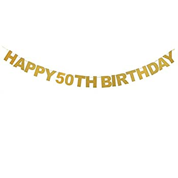Veewon Happy 50th Birthday Banner Gold Glitter Letters Bunting Garlands Anniversary Party Photo Prop Decor Cheapest DVDs 123PriceCheck