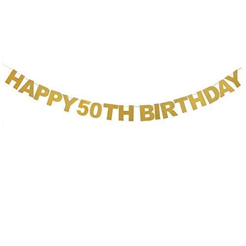Veewon Happy 50th Birthday Banner Gold Glitzer Briefe Bunting Girlanden 50. Geburtstag Jubiläum Party Foto Prop Dekor