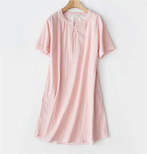 LLU Frühling und Sommer Frauen Baumwolle kurzärmeliges Nachthemd Mitte Rock Gaze Pyjamas zu Hause Kleidung einfachen Schlafanzug, Pink -