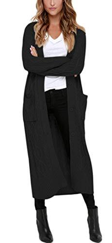 Aleumdr Strickmantel Strickjacke Damen Gestrickt Lose Cardigan Wintermantel Causal Cardigan Parkajacke Outwear mit Taschen und Langarm, Schwarz, Medium (EU38-EU40)