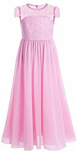 AGOGO Mädchen Kinder Kleider Festlich Brautjungfern Maxi Kleid Prinzessin Hochzeit Party Kleid Spitze Spleiß Chiffon Festzug Gr. 116 128 140 152 164 170 (152, Rosa)