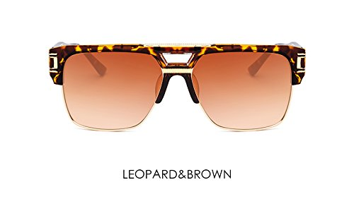 ZHANGYUSEN Men Sunglasses Gradient Glasses Luxury Brand Designer Big Frame Mirror Sun Glasses Women Reto Clear Eyewear,Leopard Brown