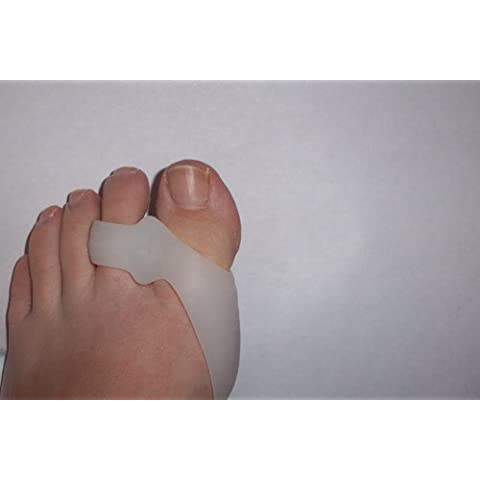 Lote de 2 FootTrekTM de color blanco de polímero de litio para Gel/los dedos de los pies/con tapa de cierre del dedo del pie de y mango de madera separador de alimentos madera de golf efecto y tarjetas de visita
