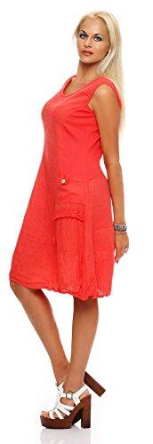 linge de robe d'été des femmes longueur du genou glissement robe de tenue d'affaires décontractée A-ligne Saumon